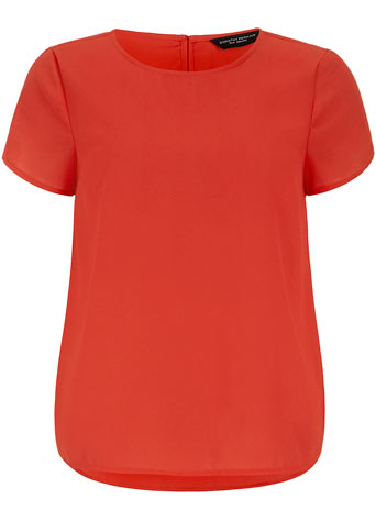 Orange crepe curve hem top     Price: £25.00 click to visit Dorothy Perkins