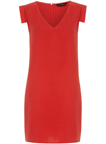Orange v neck shift dress     Was £32.00     Now £12.00 click to visit Dorothy Perkins