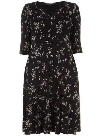 Scarlett & Jo Black Retro Button Front Ditsy Floral Midi Dress     Price: £45.00 click to visit Evans