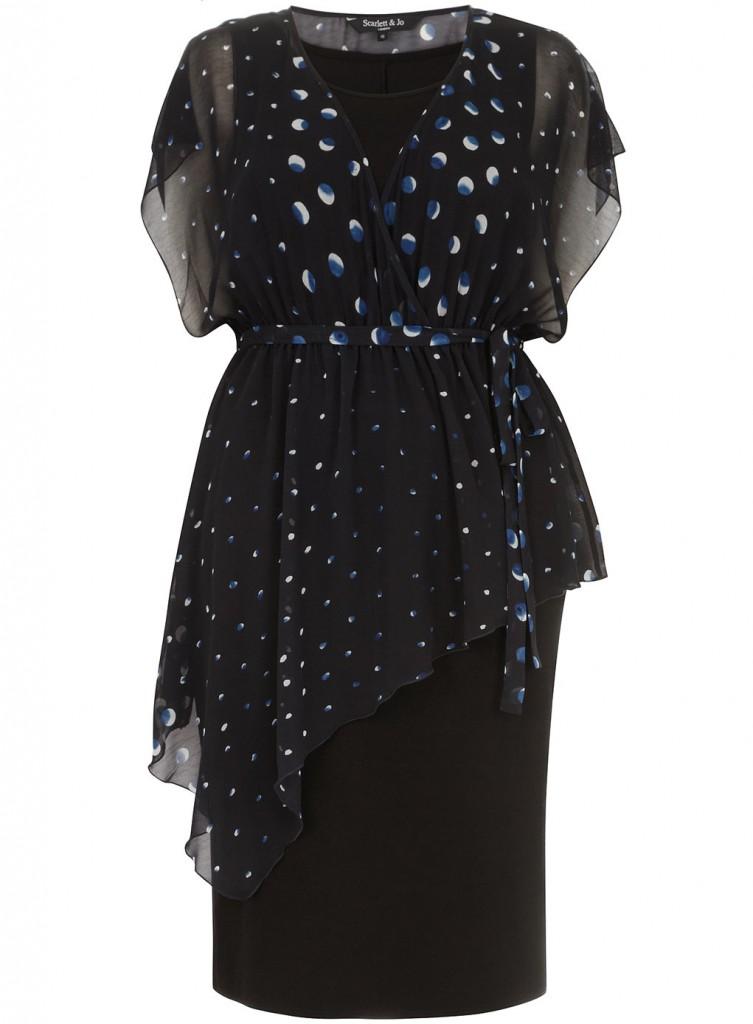 Scarlett & Jo Spot Print Asymmetric 2 piece Midi Dress     Price: £50.00 click to visit Evans