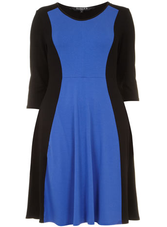 Scarlett & Jo Blue Panel Fit and Flare Dress     Price: £40.00 click to visit Evans