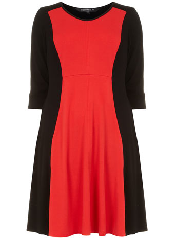Scarleet & Jo Red Panel Fit and Flare Dress     Price: £40.00 click to visit Evans
