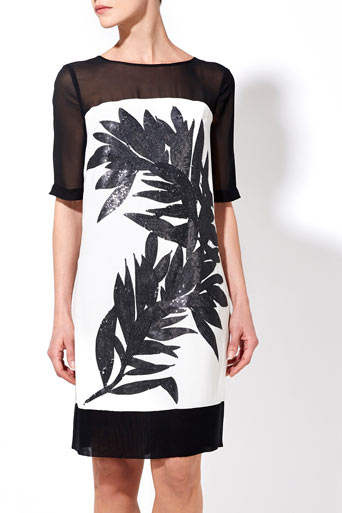 Black And White Sequin Palm Tunic Dress     Price: £60.00 click to visit Wallis