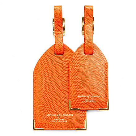 ASPINAL Pair of leather luggage tags £35 click to visit Selfridges