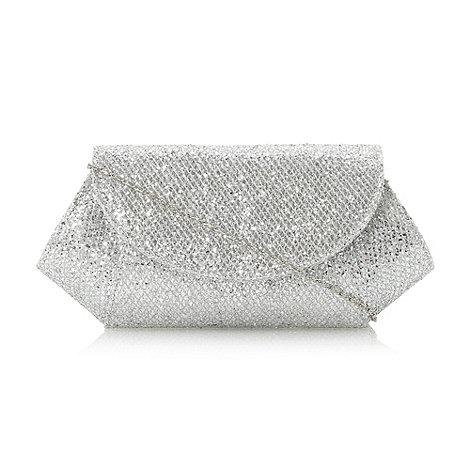 Roland Cartier Silver glitter 'B' mesh rc Roland Cartier glitter clutch bag  £35 click to visit Debenhams