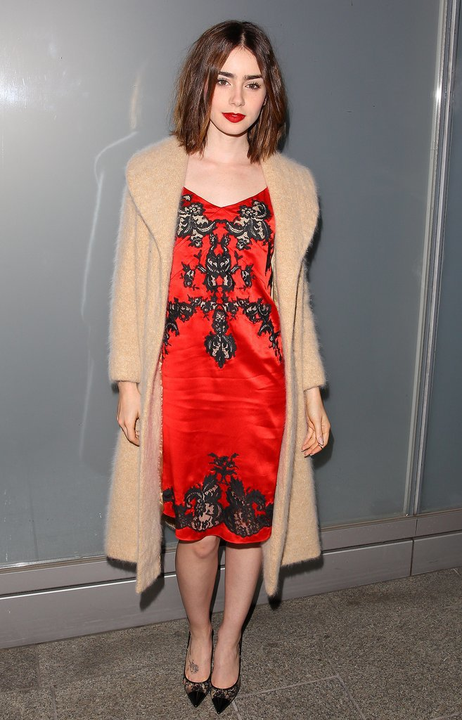 Lily-Collins-showed-her-sultry-side-red-slip-dress-adorned