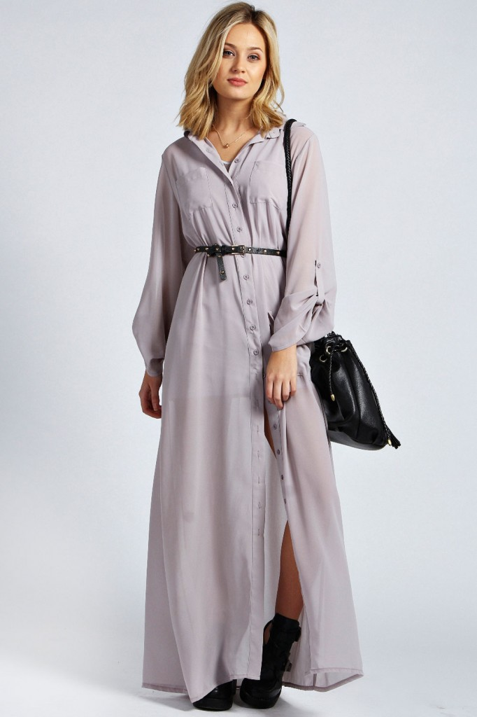 Una Maxi Chiffon Shirt Dress £25 click to visit Boohoo