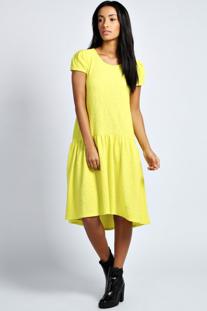 Penny Textured Drop Waist Dress £20 click to visit Boohoo