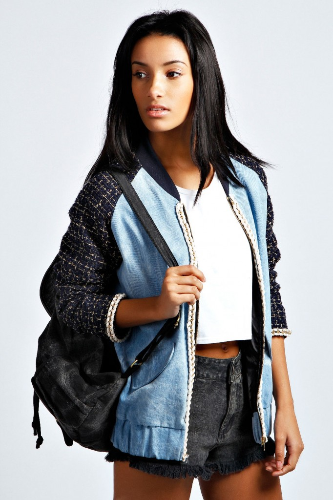 Jessica Chain Detail Contrast Sleeve Denim Bomber £40 click to visit Boohoo