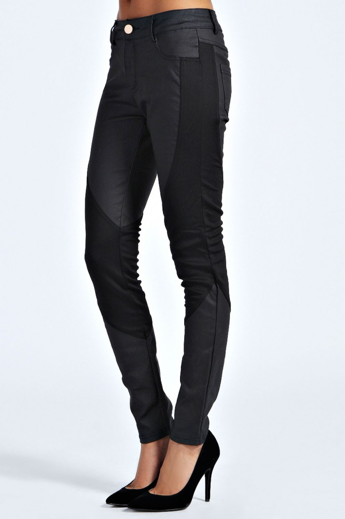 Lydia Coated Skinny Scuba Panel Trousers £25 click to visit Boohoo