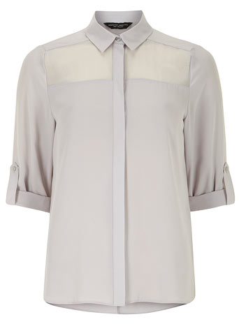 Grey sheer insert blouse     Was £25.00     Now £20.00 click to visit Dorothy Perkins