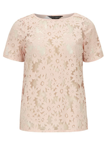 Blush daisy burnout tee     Was £15.00     Now £13.50 click to visit Dorothy Perkins