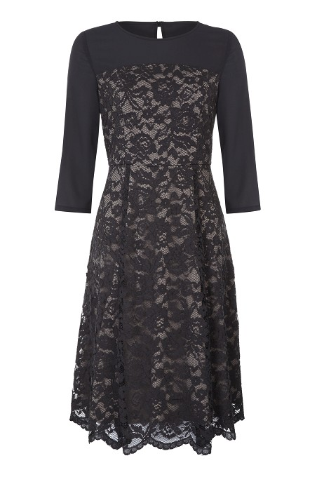 Contrast Lace Skater Dress Item No 060/032182/32 / Price £129.00 click to visit Kaliko