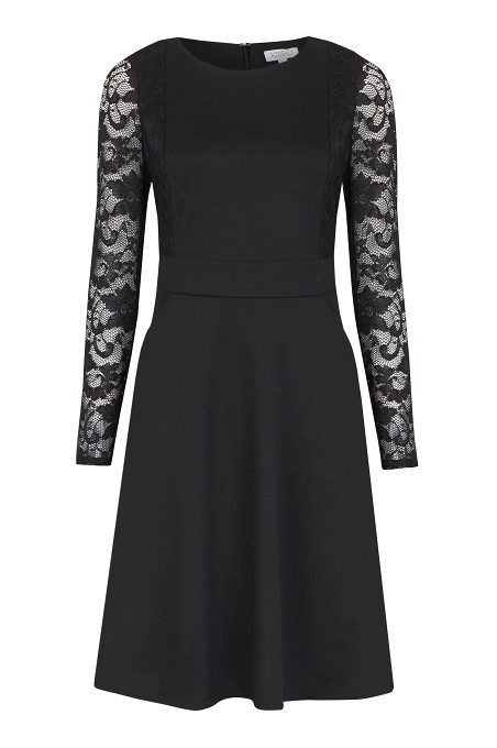 Black Lace Sleeve Skater Dress £79 click to visit Kaliko