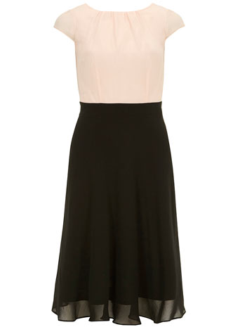 Midi blush 2 in 1 fit anf flare dress     Was £38.00     Now £34.20 click to visit Dorothy Perkins