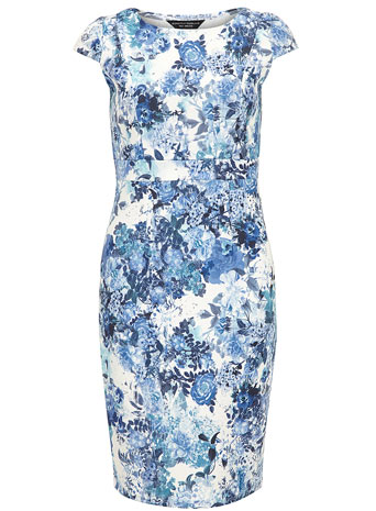Blue floral neoprene pencil dress     Was £28.00     Now £25.20 click to visit Dorothy Perkins