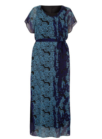 Scarlett & Jo Blue Layered Print Maxi Dress     Price: £60.00 click to visit Evans