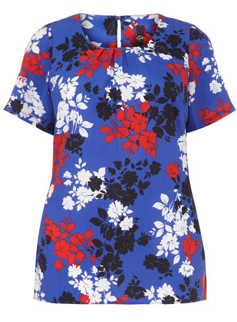 Evans Blue Shadow Floral Print Shell Top     Price: £29.50 click to visit Evans