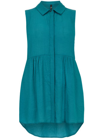Evans Turquoise Sleeveless Shirt     Price: £27.00 Click to visit Evans