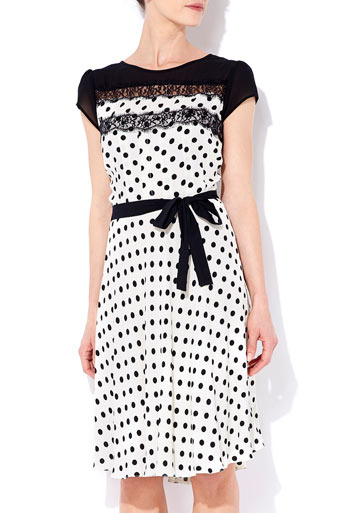 Cream Polka Dot Lace Top Dress     Price: £40.00 click to visit Wallis