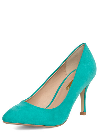 Turquoise pointed mid heel court     Was £23.00     Now £16.10 click to visit Dorothy Perkins