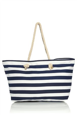 Navy And White Stripe Shopper Bag £20 click to visit Next