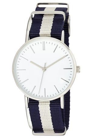 Navy And Cream Stripe Strap Watch £24 click to visit Next