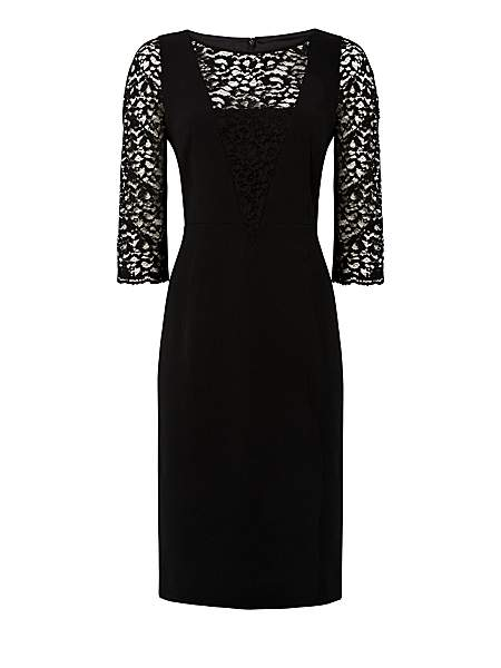 Jaeger Lace and Crepe Dress £199 click to visit House of Fraser