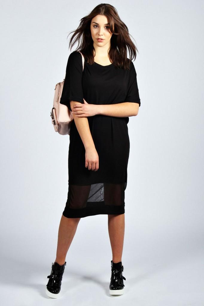 Evie Mesh Hem Panel Midi Dress £18 click to visit Boohoo