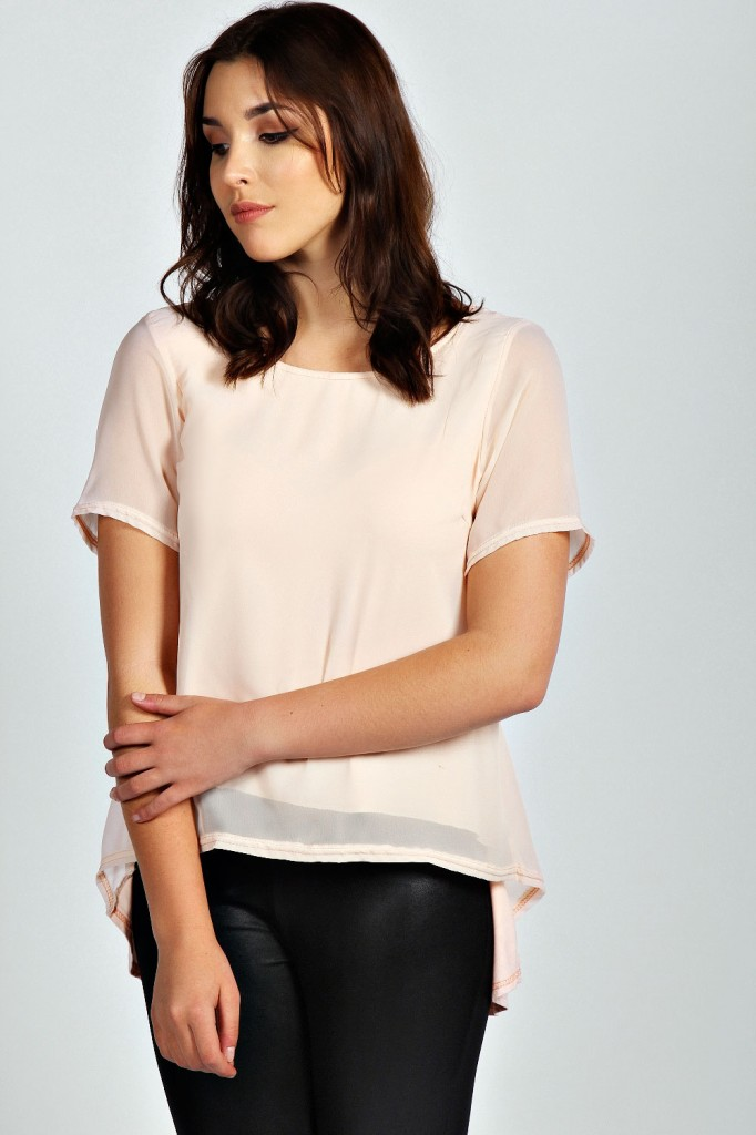 Olivia Chiffon Dipped Back Tee Product code: pzz99831 £15.00  click to visit Boohoo