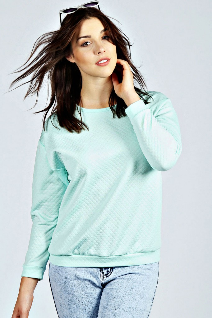 Vicky Quilted Fabric Sweat Top Product code: pzz99913 £12.00 click to visit Boohoo