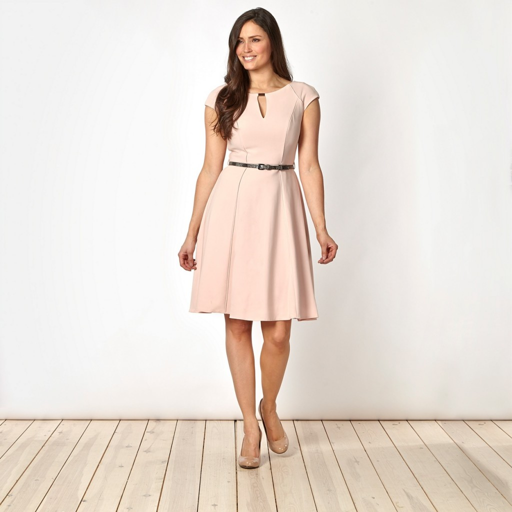 Designer pale pink belted fit and flare dress £60 click to visit Debenhams