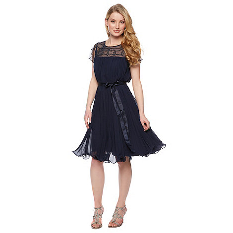 Designer navy pleated embellished dress £140 click to visit Debenhams