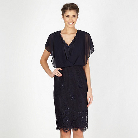Designer dark blue lace sequinned shift dress £130 click to visit Debenhams