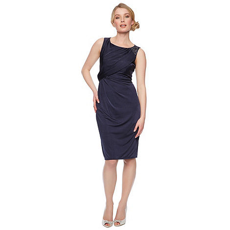 Designer navy embellished shoulder midi dress £99 click to visit Debenhams