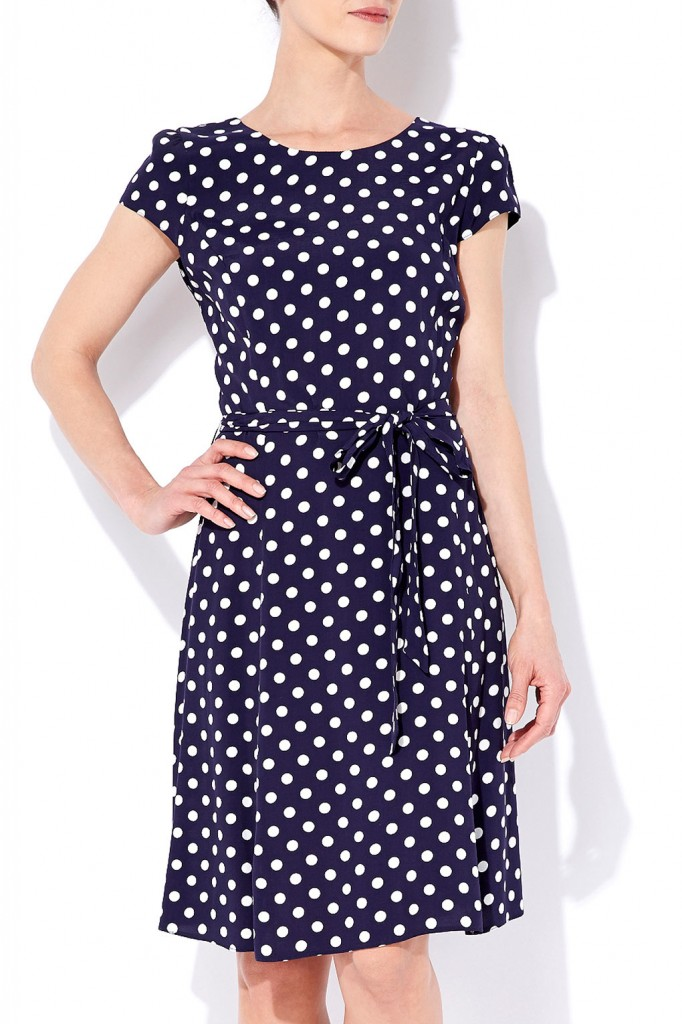Navy Blue Polka Dot Dress     Price: £40.00 click to visit Wallis