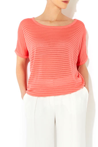 Coral Stripe Knitted Top     Was £26.00     Now £23.40 click to visit Wallis