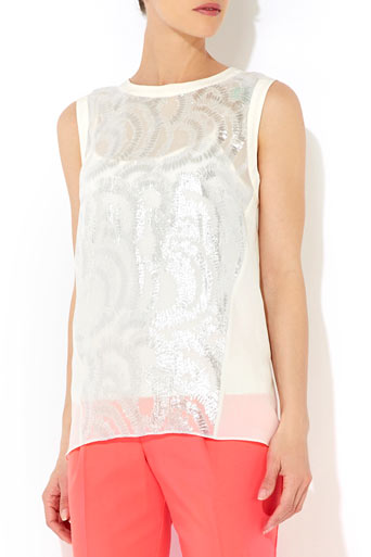 White Metallic Shell Top     Was £55.00     Now £49.50 click to visit Wallis