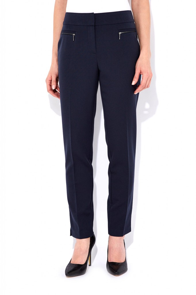 Navy Zip Slim Leg Trouser     Price: £33.00 click to visit Wallis