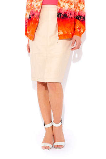 Nude Leather Pencil Skirt     Was £95.00     Now £76.00 click to visit Wallis