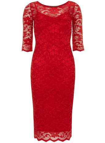 Red 3/4 Sleeve Lace Bodycon Dress     Price: £32.99 click to visit Dorothy Perkins