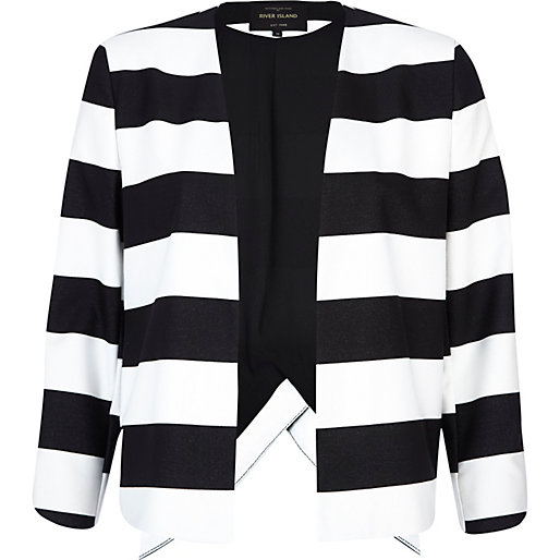 Black and white stripe wrap back jacket £55.00 click to visit River Island