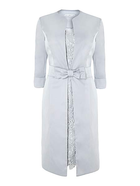 Shubette Guipere lace dress with satin dress coat £250   click to visit House of Fraser