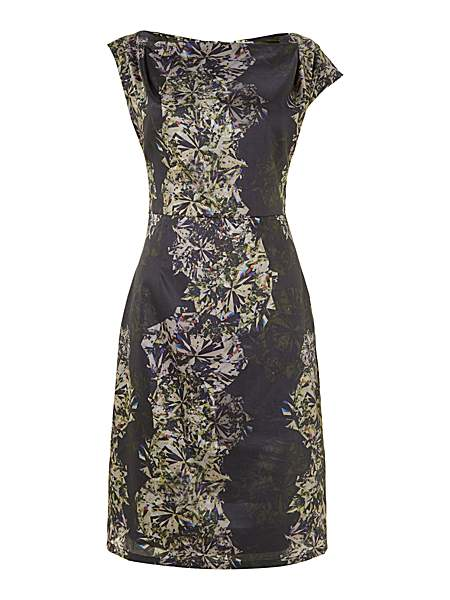 Kilian Kerner Senses Print pleat neck pencil dress £43 click to visit House of Fraser