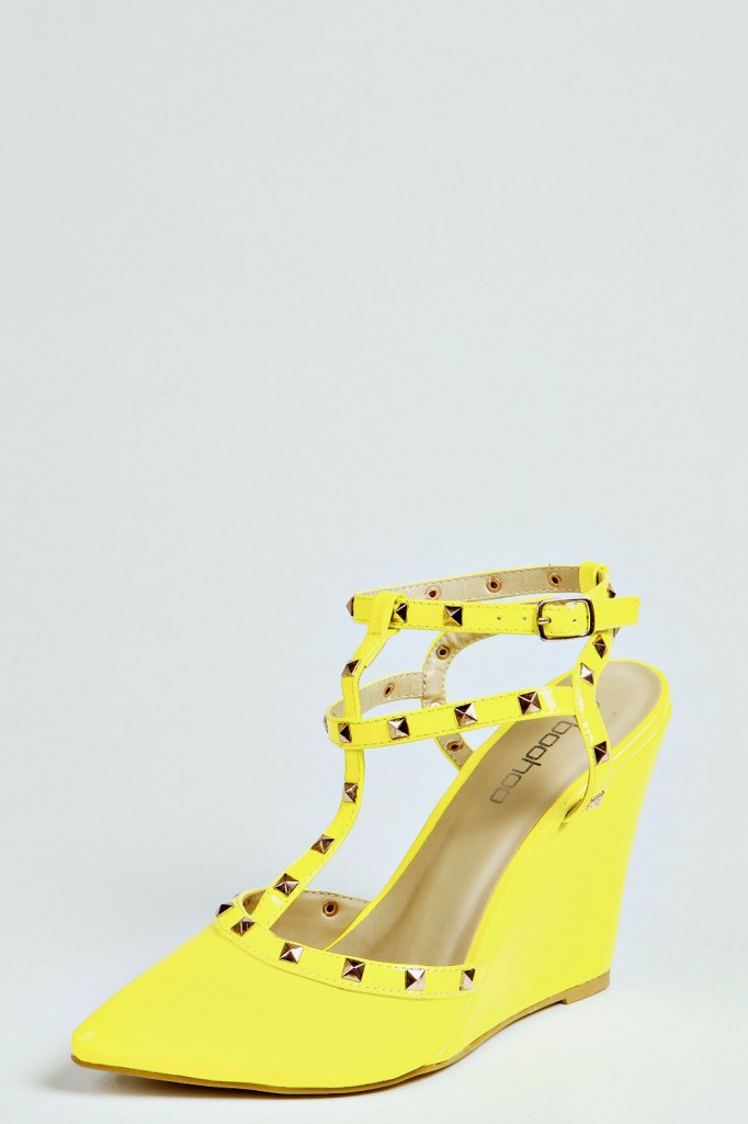 Victoria Stud Strap Neon Wedges Product code: azz35395 From £25.00 click to visit Boohoo