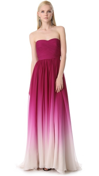 Monique Lhullier dress in fuchsia ombre