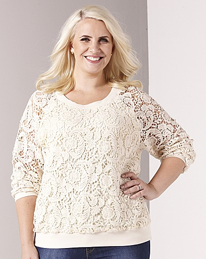 Claire Richards Lace Sweat Jersey Top £45 click to visit Fashion World
