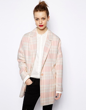 New Look Pink Check Boyfriend Coat £54.99 click to visit ASOS