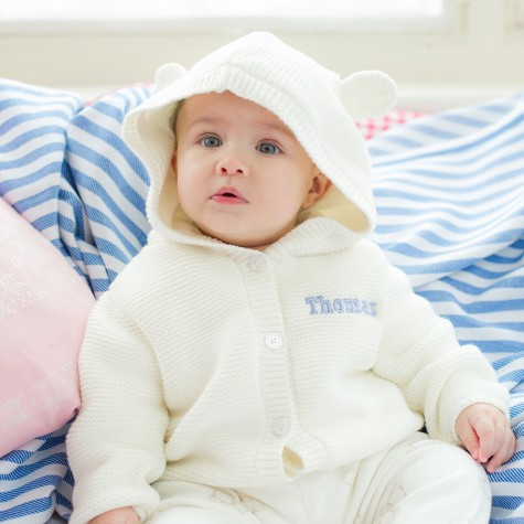 Personalised Knitted Hoodie £25 click to visit My Ist Years