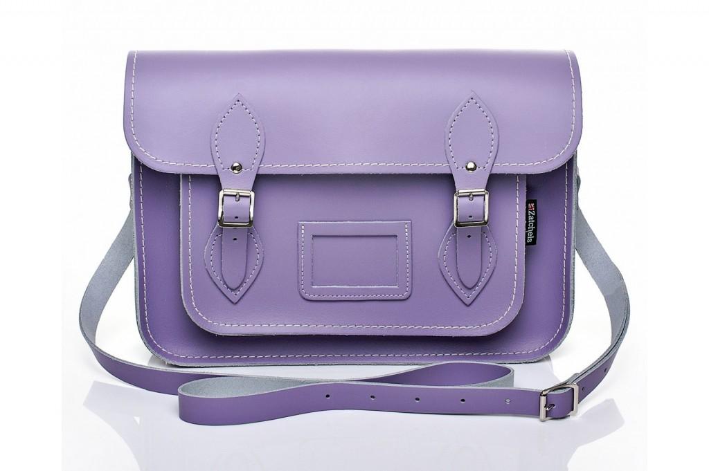 Pastel Violet Leather Satchel from £86 click to visit Zatchels